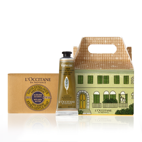 Verbena bar soap and hand creme from l'Occitane.